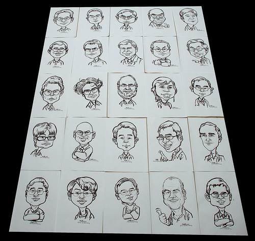 Caricatures in pen and brush for Fisher Scientific - 2