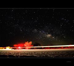 Speed of Light (MadVal.) Tags: longexposure light sky car night contrast streak trail galaxy milkyway ca62