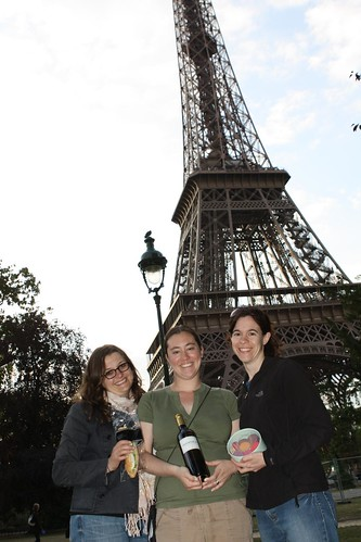 The Ladies in front of the Eiffel Tower with Dinner