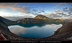 Lake Hnausapollur - Panorama - Iceland (Arnar Bergur) Tags: summer sky panorama mountain lake snow reflection green water night clouds canon iceland day hill down 5d arnar 1740 sland hnausapollur flickrdiamond