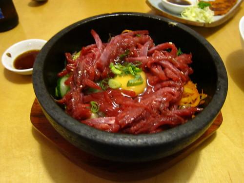 Raw beef dolsot bibimbap