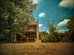 Shy (evanleavitt) Tags: wood summer sky house abandoned home clouds rural tin was nc darkness decay south north rusty southern faded forgotten american carolina americana weathered once stately the grandeur