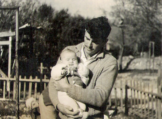 my grandfather holding my mother
