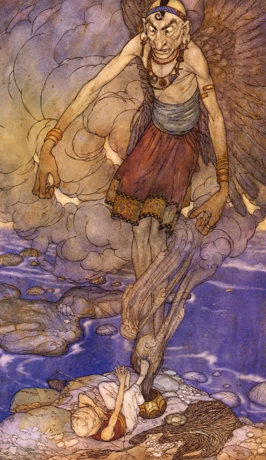 "Edmund Dulac - ""And there in its midst stood a  mighty Genie."" Illustration from The Fisherman and the Genie' found in Stories from The Arabian Nights (1907)"