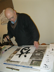 Taigen participates in Kaz's calligraphy workshop