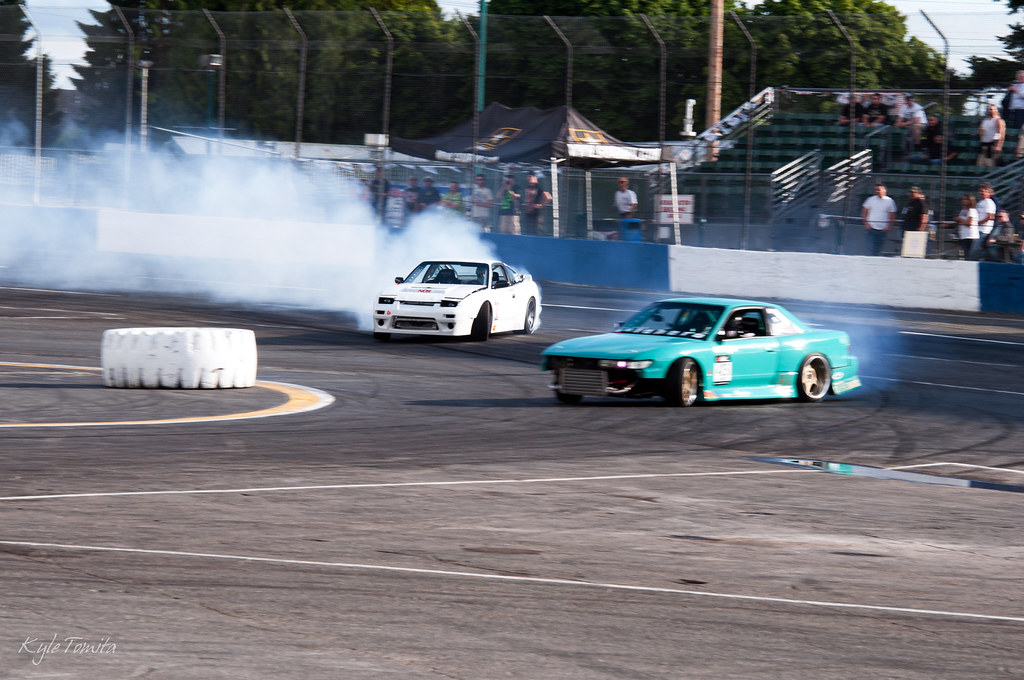 Justin Pawlak and Roland drifting at Extreme Night.JPG