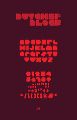 Butcher Block - Expanded Typeface (Jordan.A.) Tags: red geometric typography design graphicdesign purple number type block illustrator alphabet typeface punctuation adobeillustrator butcherblock illustratorcs5