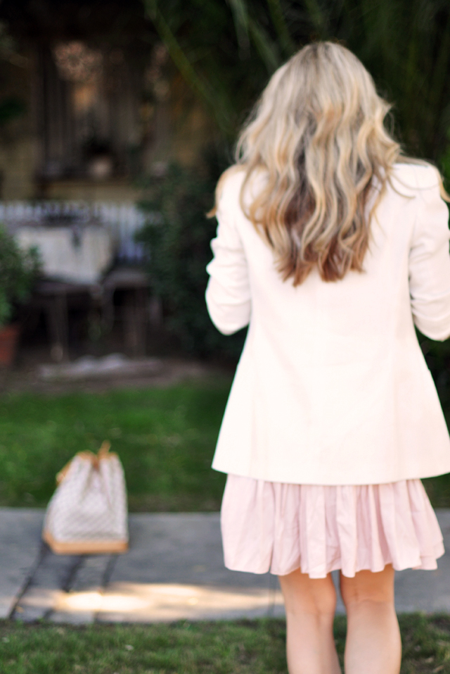 Pink dress white blazer pearls  +   back of waved hair