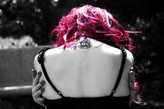 Hug (Sabrina Campagna) Tags: red portrait bw sabrina tattoo photomanipulation cutout dark hair book photo back nikon hug gothic goth photobook monochromatic campagna nikkor shoulder ritratto angelino susanna tatuaggio 18105 triskell d90 spalle