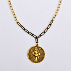 Majorette Medal Necklace (Salvage Siren) Tags: metal vintage found gold necklace recycled handmade ooak tag jewelry medal chain friendly etsy majorette brass eco upcycled