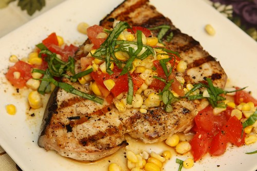 Grilled Swordfish with Tomato, Grilled Corn, and Basil