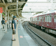 hankyu train (Takafumi Goto) Tags: pentax 67 6x7 film kodak portra 400 train station hankyu  portrait