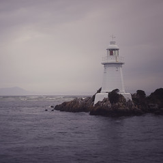 Hells Gate Lighthouse ({JO}) Tags: ocean sea lighthouse rocks tasmania tassie rivermouth gordonriver macquarieharbour