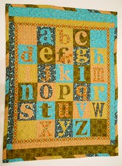 Alma's Alphabet Quilt (Geneva Designs) Tags: blue original orange baby flower green bird birds gold rust aqua quilt reader sewing peach olive machine case fabric cotton gift fox alphabet lower avid sewn joanns
