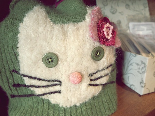 felted hello kitty tea cozy