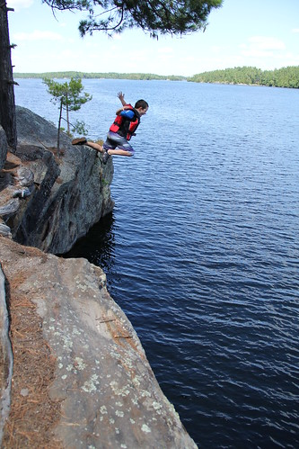 Rock jumping at Bob's Cove