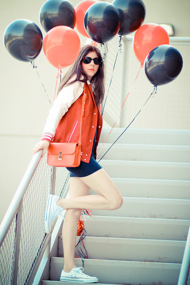 American Apparel Double-U Neck Mini Dress, Varsity Jacket, Asos, Chuck Taylor Converse, Fashion Outfit