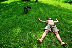 (Carly Carpenter) Tags: shirtless dog man grass lie laying flopped