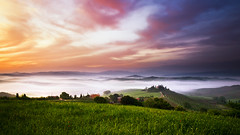 when night turns to day (Dennis_F) Tags: morning italien sky italy mist green nature colors beautiful misty fog clouds zeiss sunrise painting landscape dawn spring italia nebel sony country hill landwirtschaft natur wide himmel wolken hills tuscany belvedere cypress grn agriculture fullframe dslr toscana valdorcia landschaft sonnenaufgang ultra hilly cypresses bunt ssm f