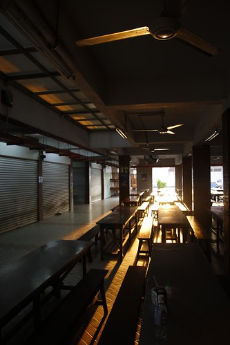 School canteen drenched with golden sunlight 3