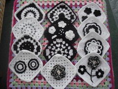 Such pretty Black and White Squares! (MRS TWINS/SIBOL 'Sunshine International Blankets) Tags: squares elderly sibol