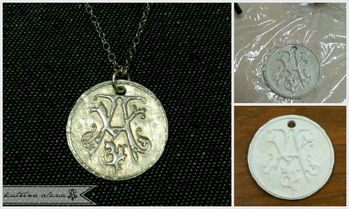 Alphabet wax seal charms | initial tag | round letter pendant.