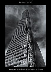 La fórmula del coseno (Toth del Valle) Tags: madrid urban bw españa building tower byn architecture skyscraper spain arquitectura torre bn urbano perspectiva contrapicado lowangle rascacielos virado toning torreespacio cbta