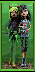 Clawdeen and Cleo (DollsinDystopia) Tags: photography doll dolls mattel danceofthedead monsterhigh clawdeenwolf cleodenile dayatthemaul poseddolls