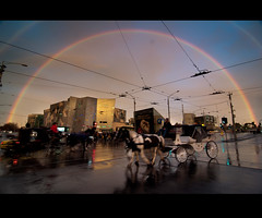 And then this happened. (Andy. H) Tags: sunset reflection rainbow nikon federationsquare melbourne tokina 1224mm flinders swanston horseandcarriage d90