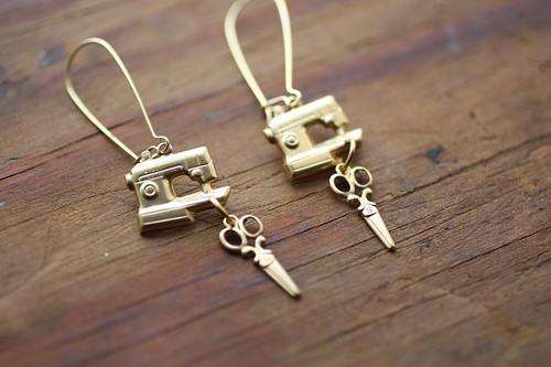 Gold - Sewing Machine Earrings from ChristineDomanic