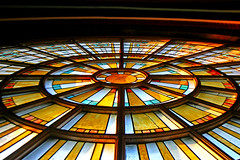 Wheel Window in Union Station (stormdog42) Tags: window architecture downtown interior indianapolis indiana stainedglass unionstation 1886 richardsonianromanesque wheelwindow thomasrodd