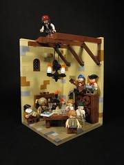 Plotting Pirates (Walter Benson) Tags: architecture lego fort pirates scene disney rum vignette diorama plotting piratesofthecaribbean rafters moc jacksparrow captainjacksparrow spanishfort piratesplanning plottingpirates