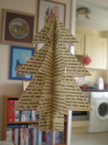 book page christmas tree decoration