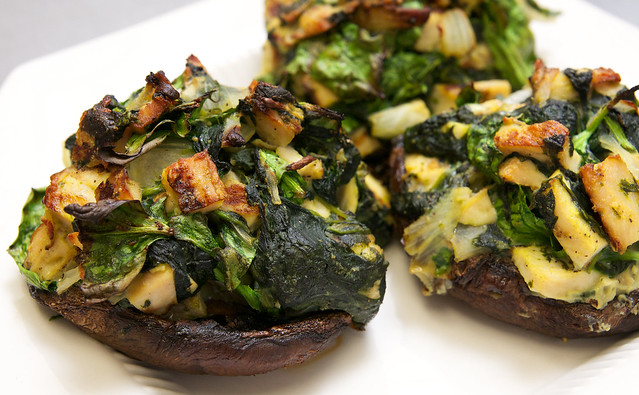 Chicken and Spinach Stuffed Portobello Mushrooms