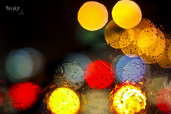 August Sixth. (redaleka) Tags: light water glass colors rain thanks drops colorful bokeh thankful grateful windshield gratitude augustsixth threehundredsixty