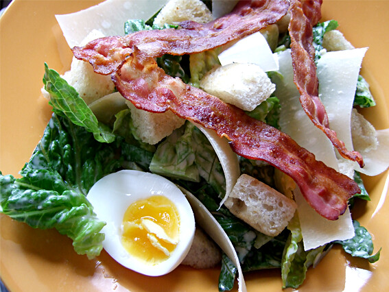 Salad with Cardini's Caesar dressing