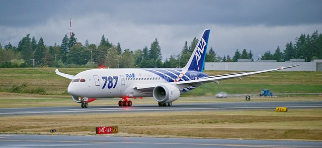 First ANA Boeing 787 accelerates for takeoff