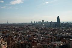 Barcelona: New + Old (wenzday01) Tags: barcelona city travel urban espaa church skyline architecture spain nikon europe cathedral catalonia unesco gaud catalunya nikkor catalua sagradafamlia antonigaud d90 lasagradafamlia nikond90 18105mmf3556gedafsvrdx