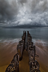 Stormy Waters (ETCphoto) Tags: beach clouds rocks waves michigan piers heavy whitefishpoint 8117