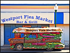 Hamburger with the Works (FotoEdge) Tags: auto food usa beer bar mushrooms restaurant neon heart ketchup beef wheels coke parade grease kansascity onions lettuce fries relish hamburger mustard kc westport fried kcmo theworks westportfleamarket fotoedge