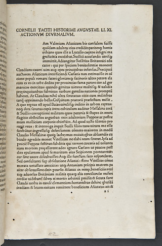Title incipit of Tacitus, Gaius Cornelius: Opera