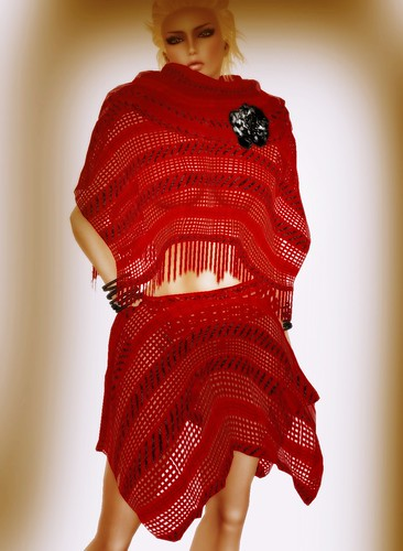 [Coming Soon] A&A Fashion Poncho Skirt Set Red Black