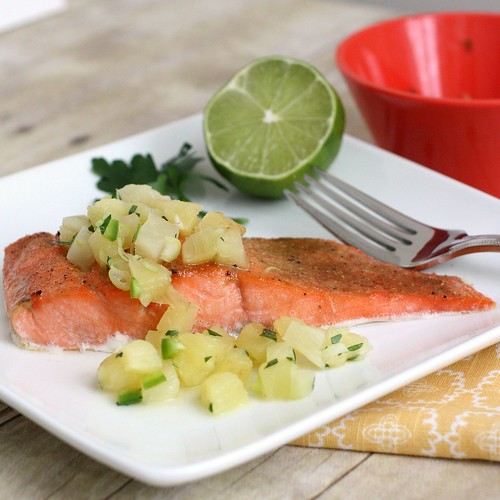 Broiled Salmon with Pineapple Salsa