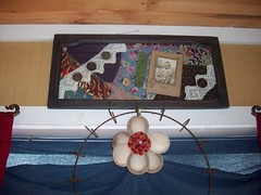 Junkin' and Crafting (grandmaper) Tags: flower vintage junk quilt baseball antique buttons crochet recycle reuse repurpose