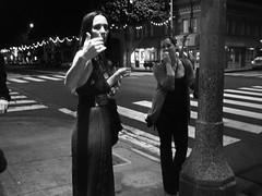This Way (b.keelerfoster) Tags: street portrait blackandwhite bw art night digital photography la photo blackwhite losangeles dress santamonica candid sidewalk slowshutter crosswalk canonpowershotsd300 californa handmotion