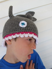 S modeling the shark hat #4