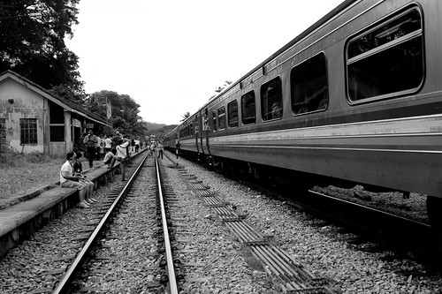 A train waiting to depart at the KTM railway station at Bukit Timah
