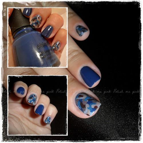 Nail art camuflada AZUL - (versão I)