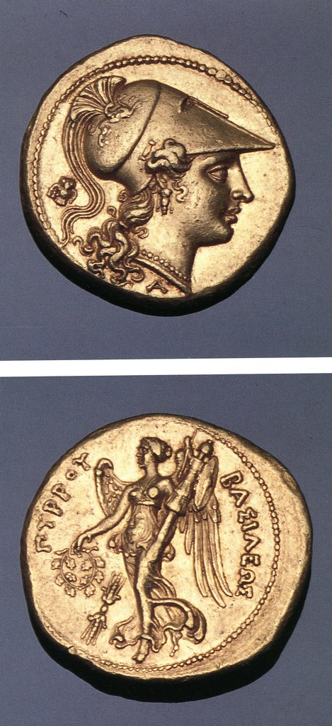 An Excessively Rare and Magnificent Greek Gold Stater of Syracuse (Sicily), Struck by King Pyrrhus of Epirus During his Abortive Sicilian Expedition, Exceptional Depictions of Athena and Nike in Gold