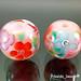 Earring: pink flower blossom CZ's